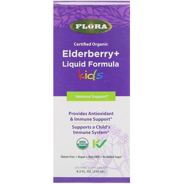Flora, Certified Organic, Elderberry + Liquid Formula, Kids, 8.5 fl oz (250 ml) (Discontinued Item)