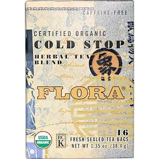 Flora, Certified Organic Cold Stop Tea, Caffeine-Free, 16 Tea Bags, 1.35 oz (38.4 g)