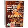Flora, Certified Organic, Double Ginger Herbal Tea Blend, Caffeine-Free, 16 Fresh-Sealed Tea Bags, 1.24 oz (35.2 g)