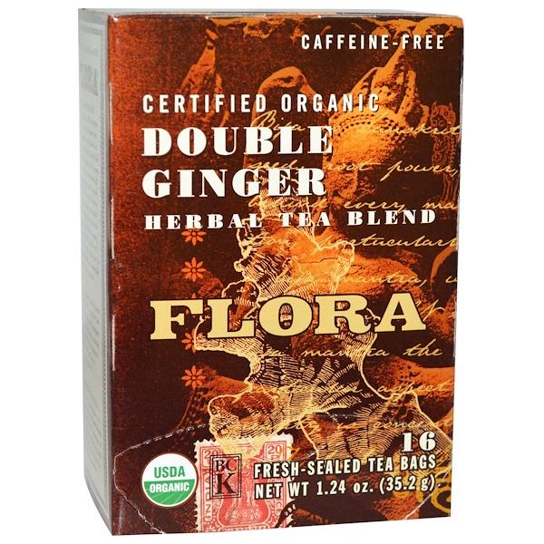 Flora, 有機認證,雙重姜草藥茶混合物,無咖啡因,16個新鮮密封茶包,1、24盎司(35、2克)