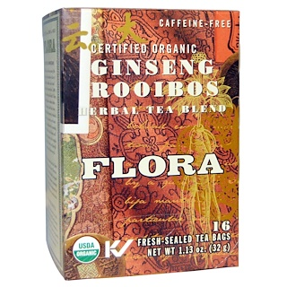 Flora, Herbal Tea Blend, Certified Organic Double Ginseng, Caffeine Free, 16 Tea Bags, 1.30 oz (36.8 g)