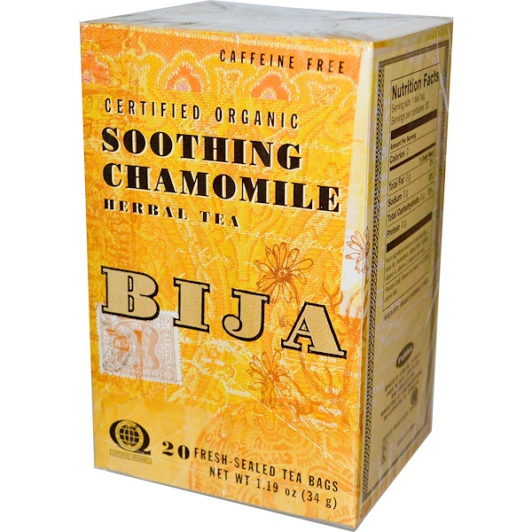 Flora, Bija, Herbal Tea, Soothing Chamomile, Caffeine Free, 20 Tea Bags, 1.19 oz (34 g) (Discontinued Item)