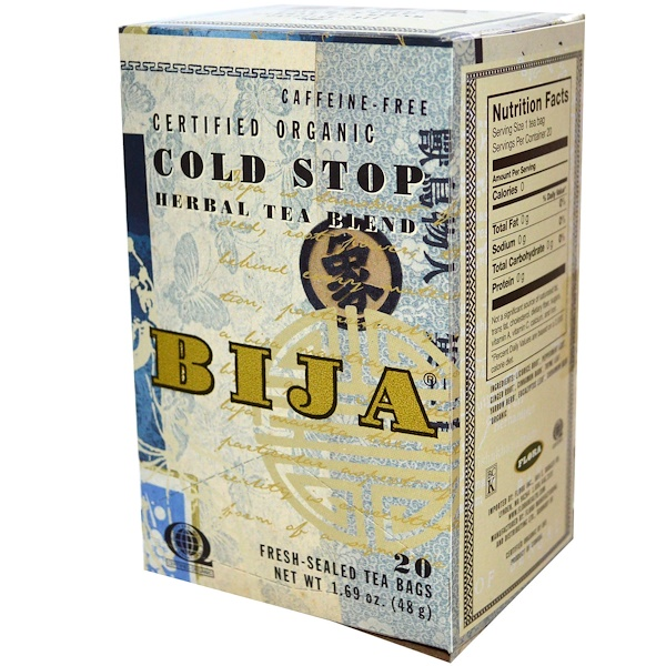 Flora, Bija, Cold Stop Herbal Tea Blend, Caffeine Free, 20 Fresh-Sealed Tea Bags, 1.69 oz (48 g) (Discontinued Item)