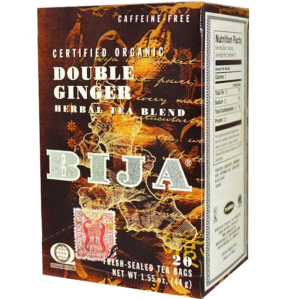Flora, Bija, Double Ginger Herbal Tea Blend, Caffeine-Free, 20 Tea Bags, 1.55 oz (44 g) (Discontinued Item)