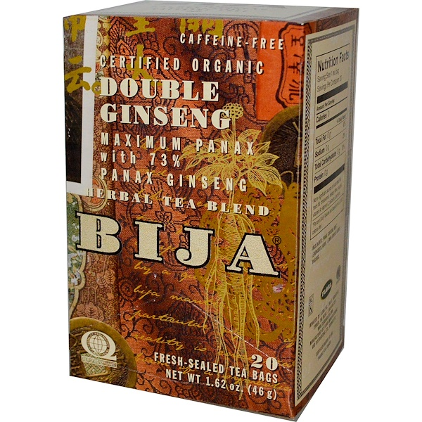 Flora, Bija, Herbal Tea Blend, Certified Organic Double Ginseng, Caffeine-Free, 20 Fresh-Sealed Tea Bags, 1.62 oz (46 g) (Discontinued Item)