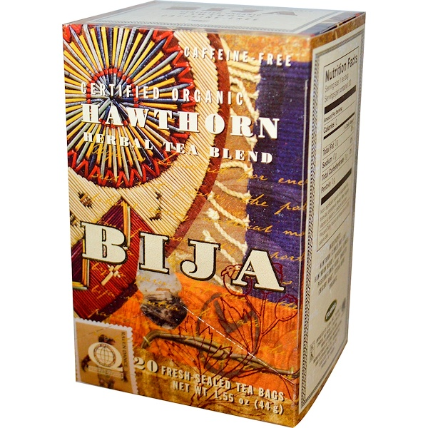 Flora, Bija, Certified Organic Hawthorn Herbal Tea Blend, Caffeine-Free, 20 Tea Bags 1.55 oz (44 g) (Discontinued Item)