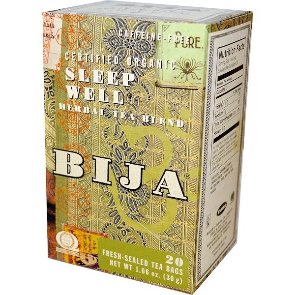 Flora, Bija, Herbal Tea Blend, Certified Organic Sleep Well, Caffeine Free, 20 Tea Bags, 1.06 oz (30 g) (Discontinued Item)