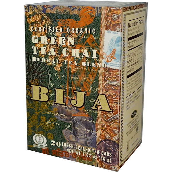 Flora, Bija, Herbal Tea Blend, Certified Organic Green Tea Chai, 20 Fresh-Seal Tea Bags, 1.62 oz (46 g) (Discontinued Item)