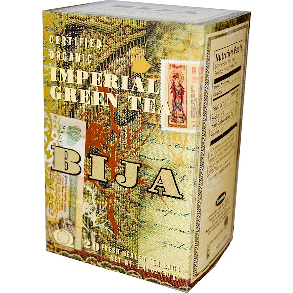 Flora, Bija, Certified Organic Imperial Green Tea, 20 Tea Bags, 1.41 oz (40 g) (Discontinued Item)