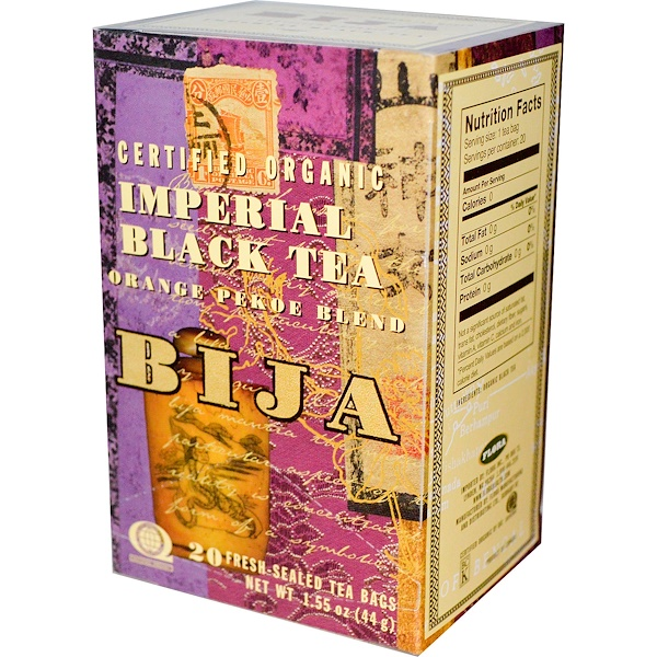 Flora, Bija, Certified Organic Imperial Black Tea, Orange Pekoe Blend, 20 Tea Bags, 1.55 oz (44 g) (Discontinued Item)