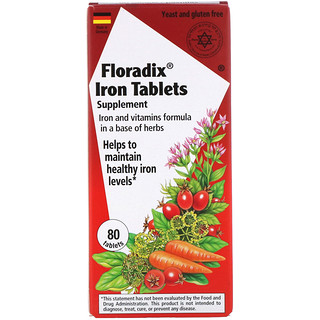 Flora, Floradix, Iron Tablets Supplement, 80 Tablets