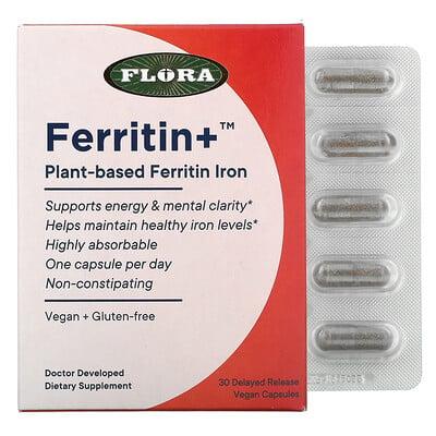 Flora Ferritin+, Plant-Based Ferritin Iron, 30 Delayed Release Vegan Capsules