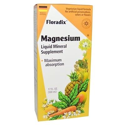 Floradix, магний, жидкая минеральная добавка, 500 мл (17 жидких унций) минеральная добавка для здоровья кишечника 237 мл 8 жидких унций