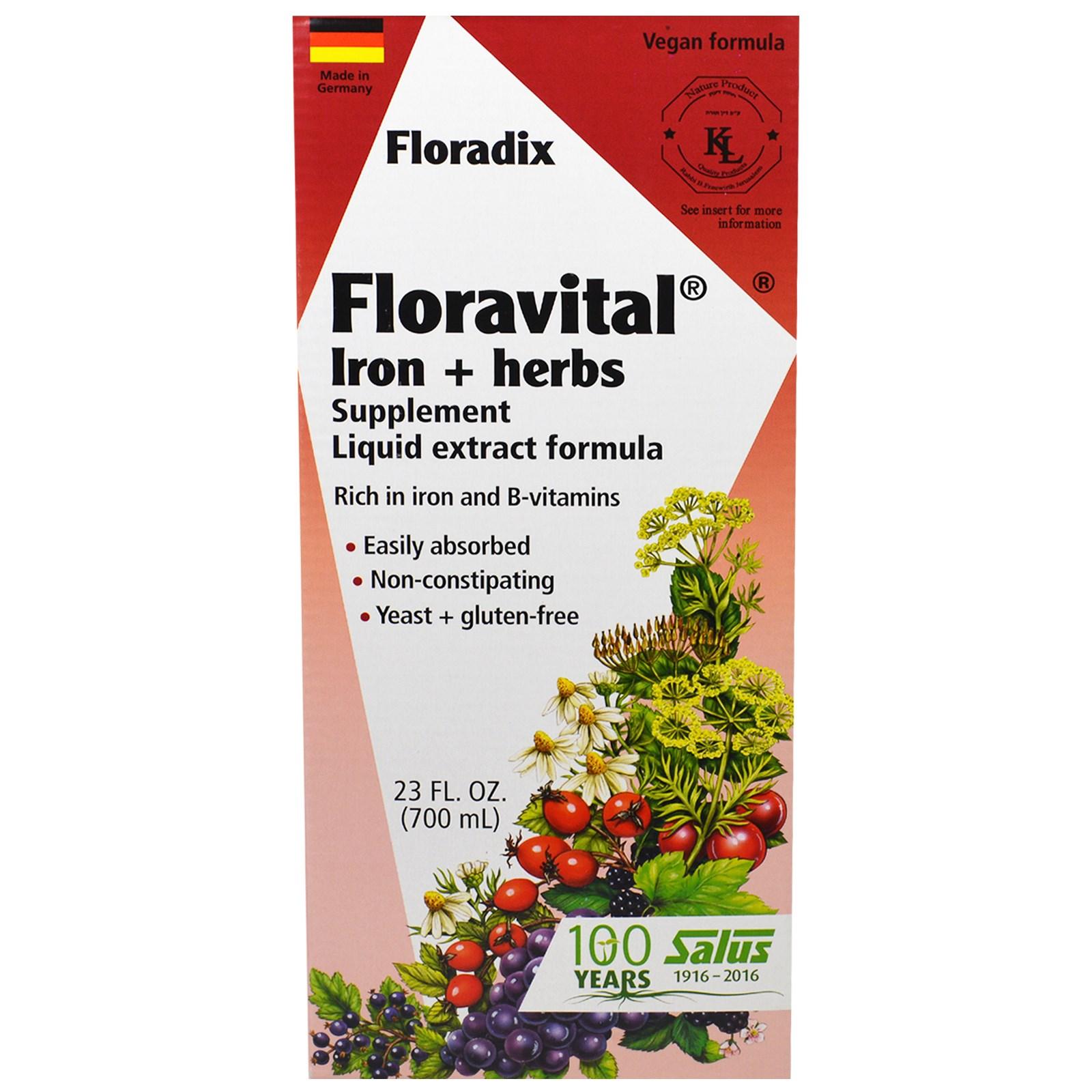 Flora, Floradix, Floravital, железо + растительная добавка, жидкий экстракт, 700 мл