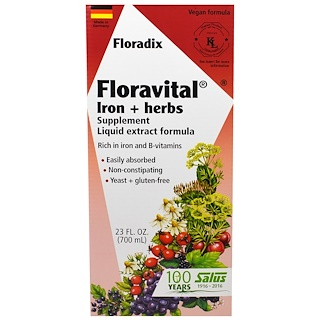 Flora, Floradix, Floravital, Iron + Herbs Supplement, Liquid Extract Formula, 23 fl oz (700 ml)