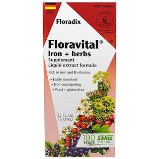 Flora, Floradix، Floravital، حديد + مكمل غذائي عشبي، صيغة مقتطف سائلة، 23 أوقية سائلة (700 مل)