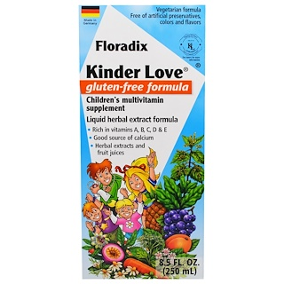 Flora, Floradix, Kinder Love, Children's Multivitamin Supplement, Gluten Free Formula, 8.5 fl oz (250 ml)