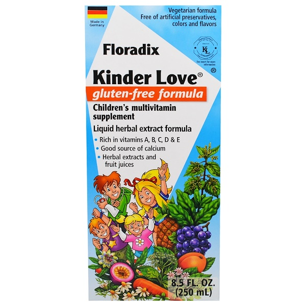 Flora, Floradix, Kinder Love, Children's Multivitamin Supplement, Gluten Free Formula, 8.5 fl oz (250 ml) (Discontinued Item)