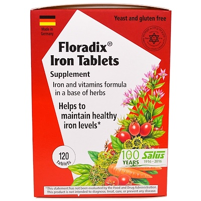 Купить Floradix Iron Tablets Supplement, 120 Tablets