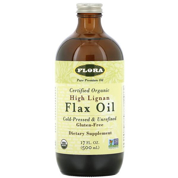 Certified Organic High Lignan Flax Oil, 17 fl oz (500 ml)