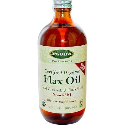 Купить Сертифицированное органическое льняное масло, 17 жидких унций (500 мл)