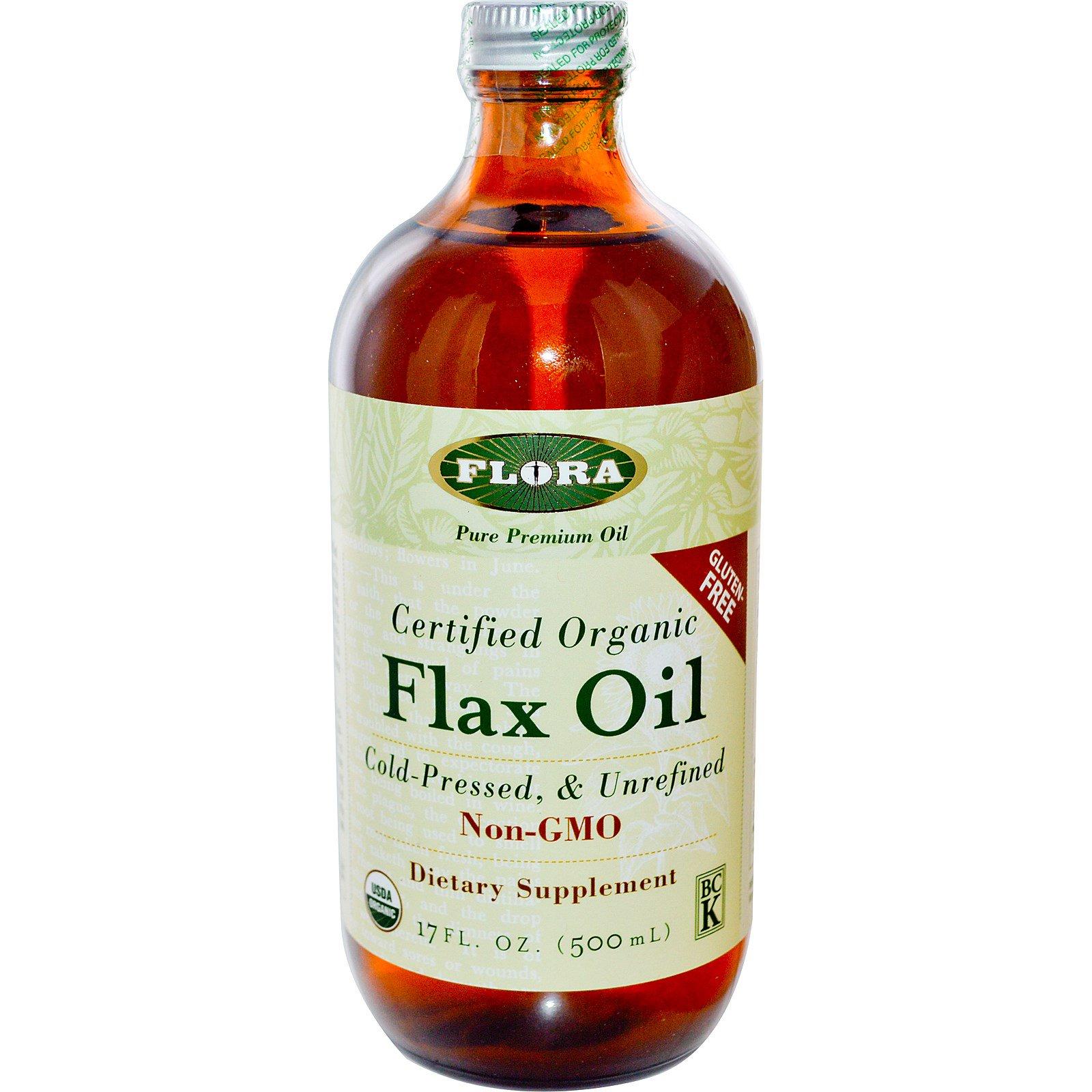 Flora, Сертифицированное органическое льняное масло ,17 жидких унций (500 мл)