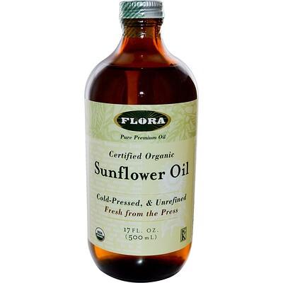 Flora Сертифицированное органическое подсолнечное масло, 500 мл (17 жидких унций)