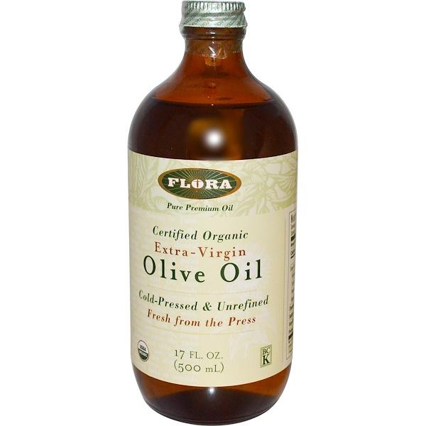 Flora, 認証オーガニック、オリーブオイル、エキストラバージン、17 液量オンス (500 ml)