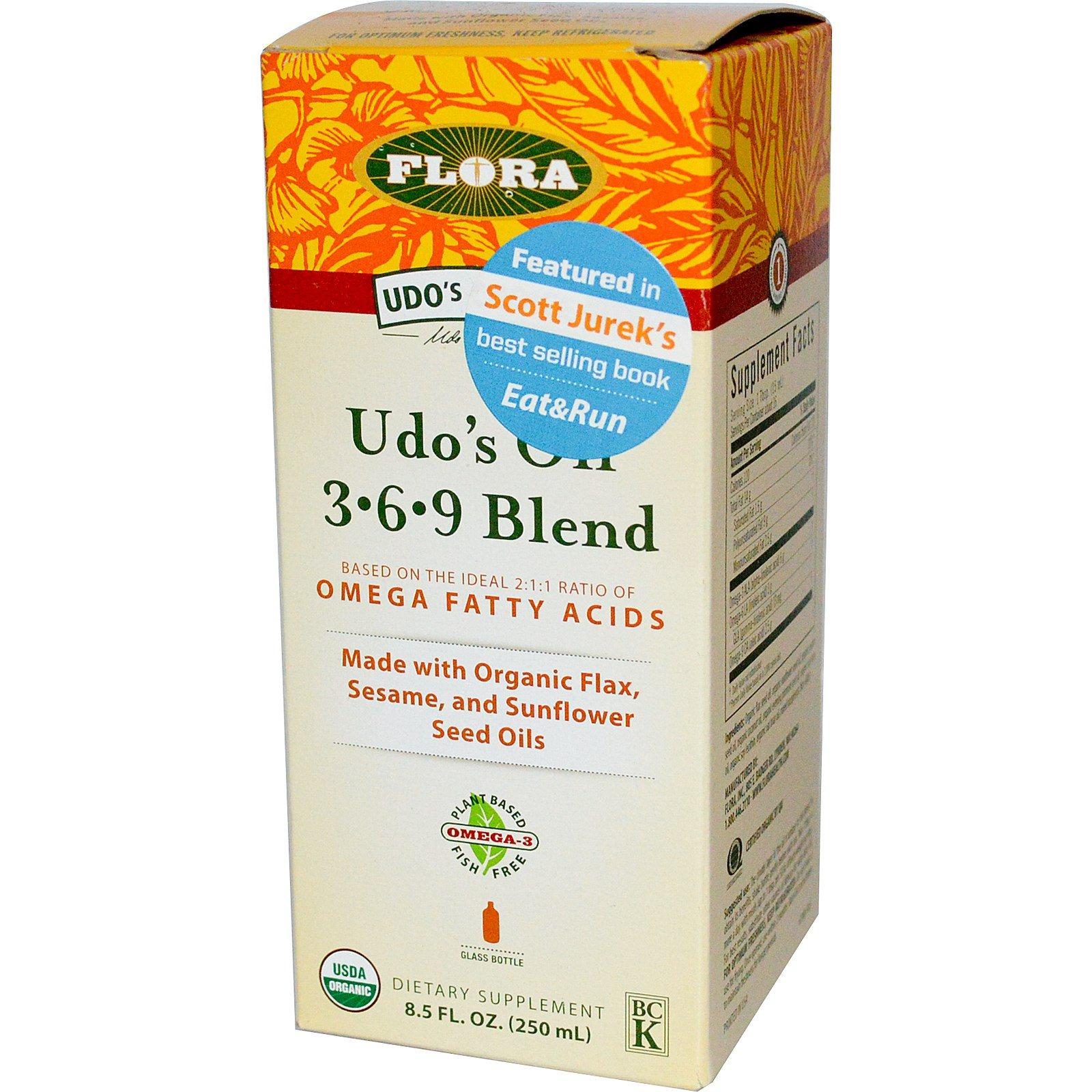 Flora, Organic, Udo's Choice, масло удо, 3.6.9 смесь 8.5 жидких унции (250 мл)