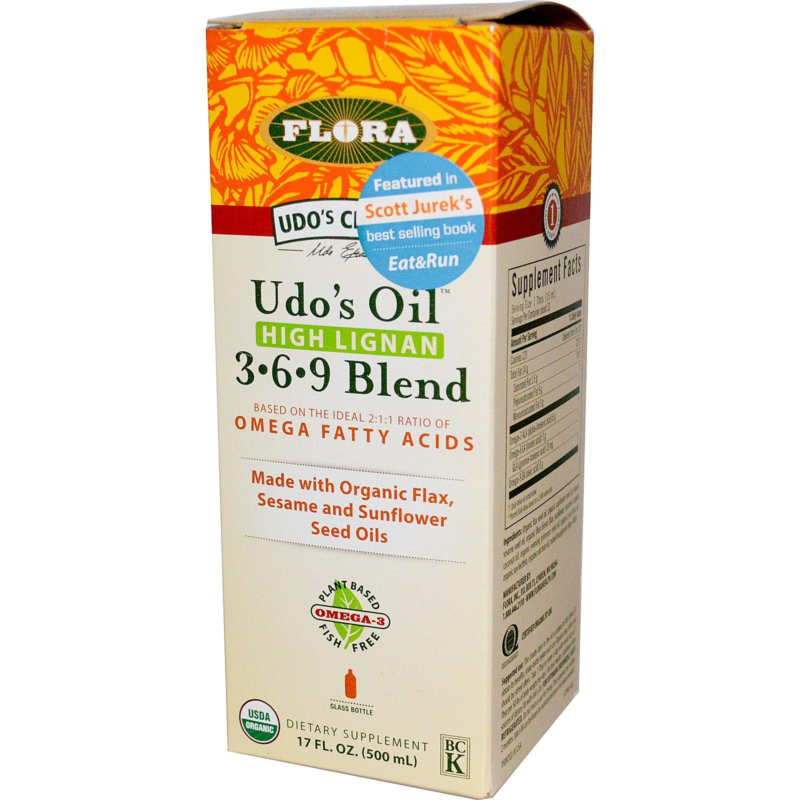 Flora, Udo's Choice, Масло Удо, 3•6•9 состав, с высоким содержанием лигнана, 17 жидких унций (500 мл)