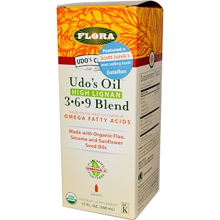 Flora, Udo's Choice, Udo's Oil, 3•6•9 Blend, High Lignan, 17 fl oz (500 ml)