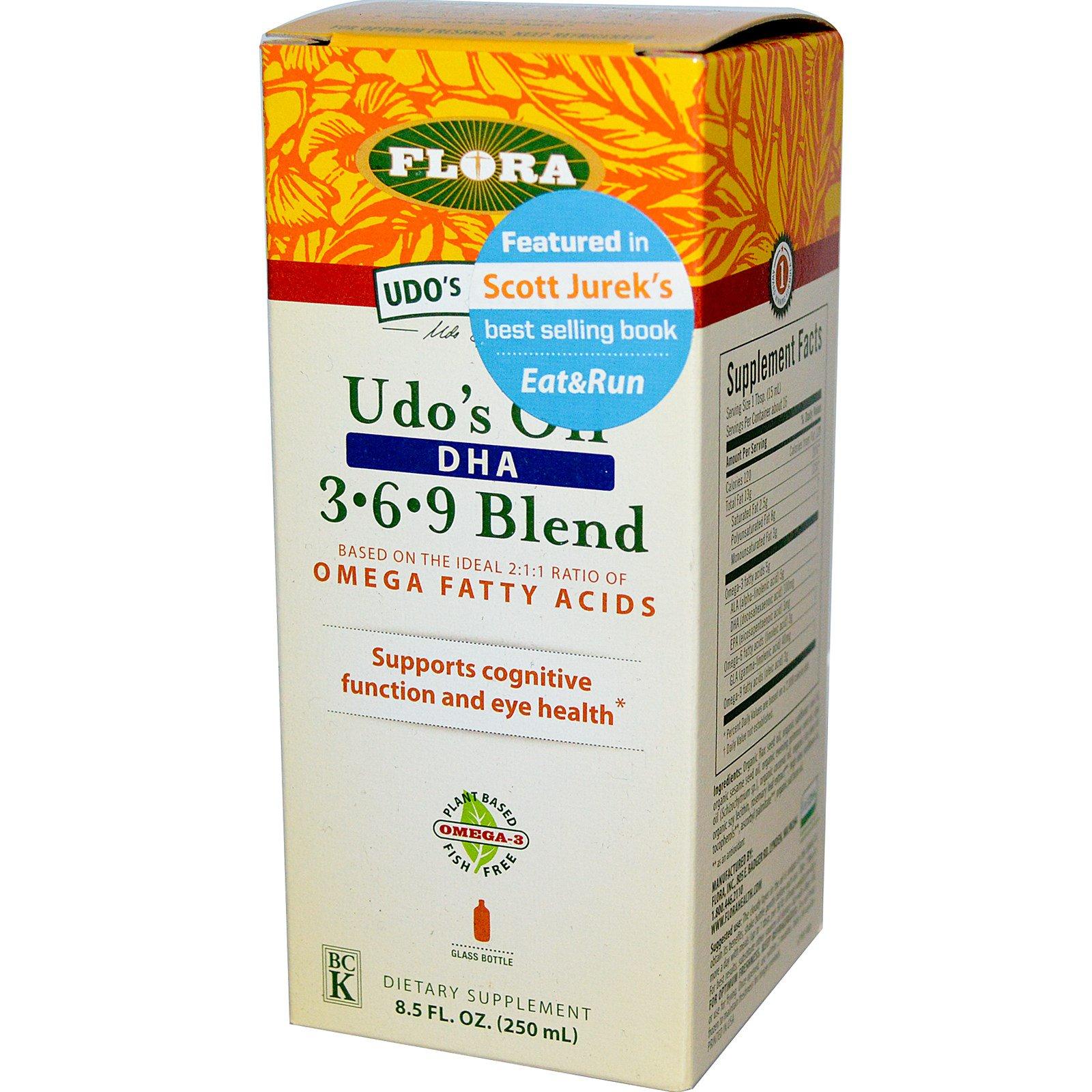 Flora, Udo's Choice, Масло Удо, DHA 3. 6 .9 Смесь 8.5 жидких унции (250 мл)