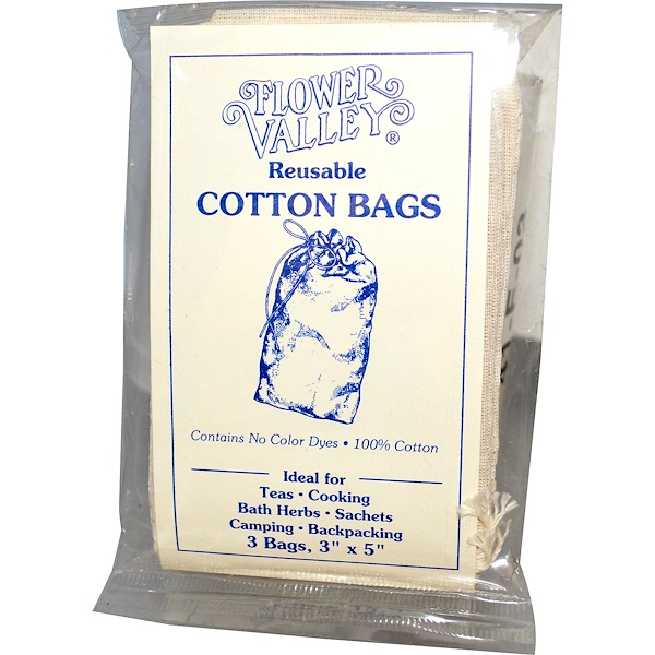 "Flower Valley, Reusable Cotton Bags, 3 Bags, 3"" x 5"" Each (Discontinued Item)"