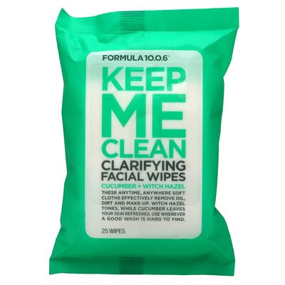 Formula 10.0.6 Keep Me Clean, Clarifying Facial Wipes, Cucumber + Witch Hazel, 25 Wipes