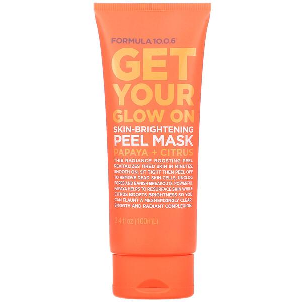 Get Your Glow On, Skin-Brightening Peel Mask, Papaya + Citrus, 3.4 fl oz (100 ml)