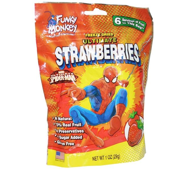 Funky Monkey Snacks, Ultimate Strawberries, Freeze Dried, 1 oz (29 g) (Discontinued Item)