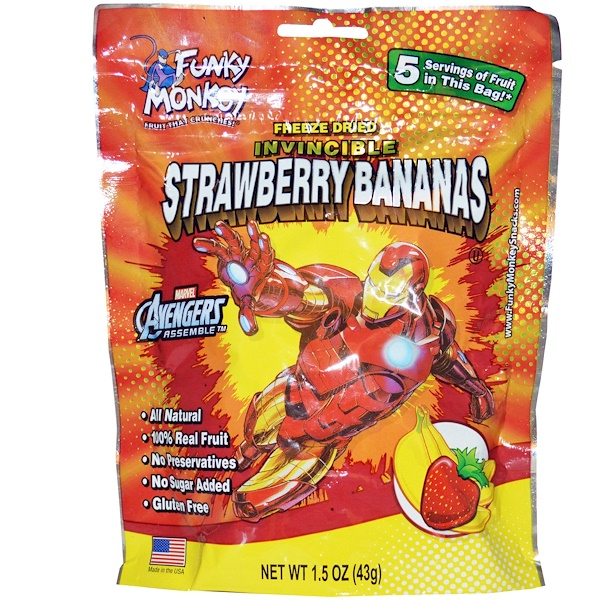 Funky Monkey Snacks, Invincible Strawberry Bananas, 1.5 oz (43 g) (Discontinued Item)