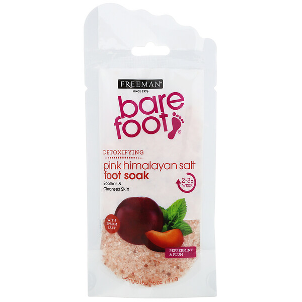 Freeman Beauty, Bare Foot, Detoxifying, Pink Himalayan Salt Foot Soak, Peppermint & Plum, 2.5 oz (71 g)