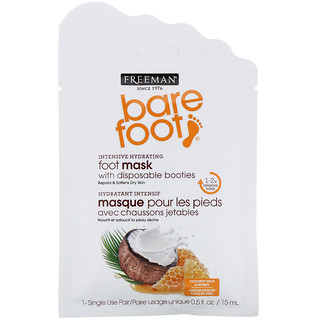 Freeman, Bare Foot, Intensive Hydrating, Foot Mask with Disposable Booties, Coconut Milk & Honey, 1 Single Use Pair