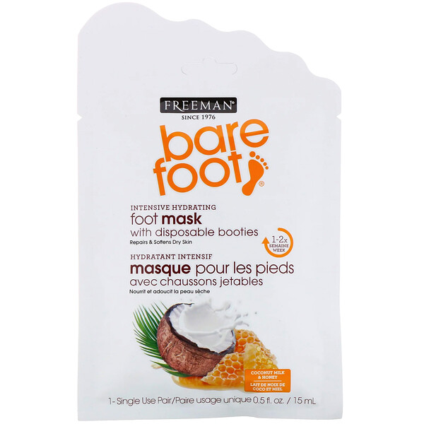 Bare Foot, Intensive Hydrating, Foot Mask with Disposable Booties, Coconut Milk & Honey, 1 Single Use Pair