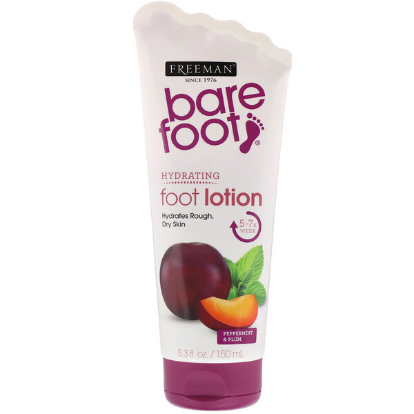 Freeman Beauty, Bare Foot, Hydrating, Foot Lotion, Peppermint & Plum, 5.3 fl oz (150 ml)