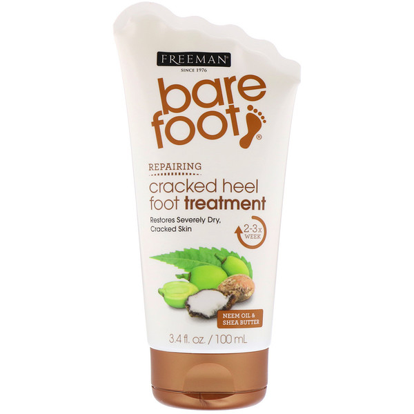 Freeman Beauty, Bare Foot, Repairing, Cracked Heel Foot Treatment, Neem Oil & Shea Butter, 3.4 fl oz (100 ml)