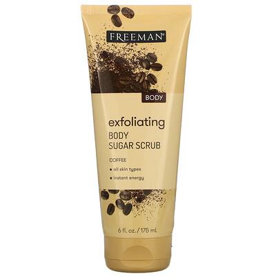 Freeman Beauty Exfoliating Body Sugar Scrub, Coffee, 6 fl oz (175 ml)