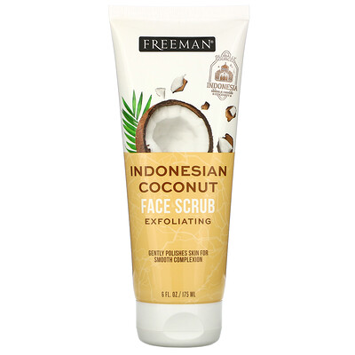Freeman Beauty Exfoliating Face Scrub, Indonesian Coconut, 6 fl oz (175 ml)