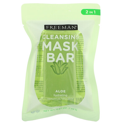 Freeman Beauty Cleansing Mask Bar, Hydrating, Aloe, 1 Bar, 2.47 oz (70 g)