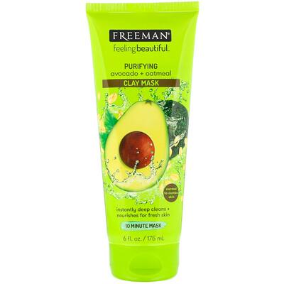Купить Freeman Beauty Feeling Beautiful, очищающая глиняная маска, авокадо и овсяные хлопья, 175мл (6жидк.унций)