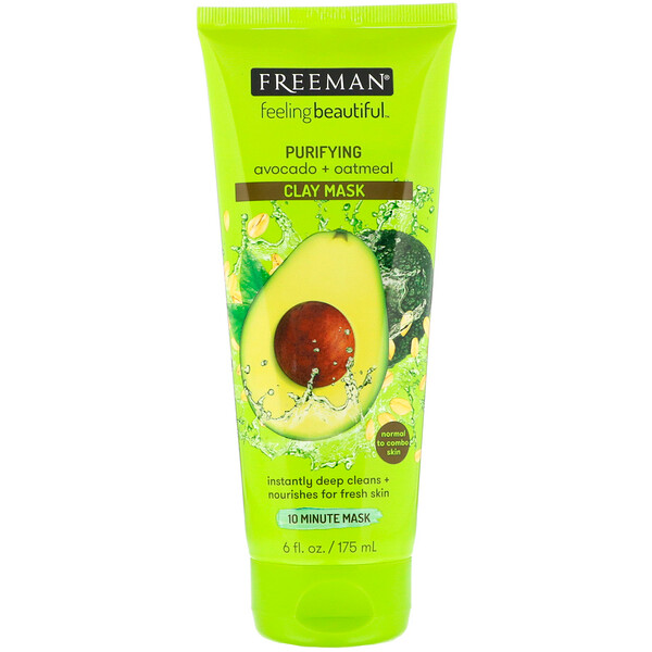 Freeman Beauty, Feeling Beautiful, Purifying Clay Mask, Avocado + Oatmeal, 6 fl oz (175 ml)