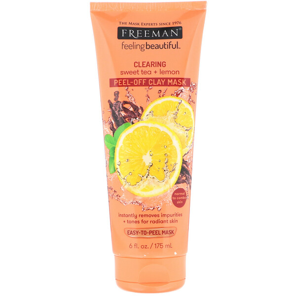 Feeling Beautiful, Clearing Peel-Off Clay Mask, Sweet Tea + Lemon, 6 fl oz (175 ml)