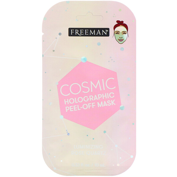 Freeman Beauty, Cosmic Holographic, máscara exfoliante, cuarzo rosado iluminador, 0.33 fl oz (10 ml)