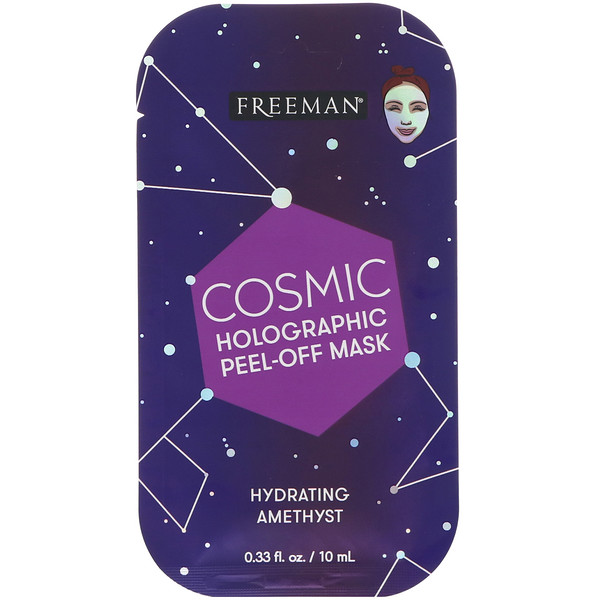 Freeman Beauty, Cosmic, Holographic Peel-Off Mask, Hydrating Amethyst, 0.33 fl oz (10 ml)